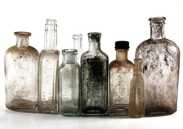 Bottles Poster featuring the digital art Antique Bottles by Richard Ortolano