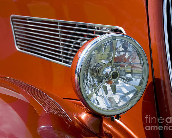 Abstract Poster featuring the photograph Antique Car Headlight by Gord Horne