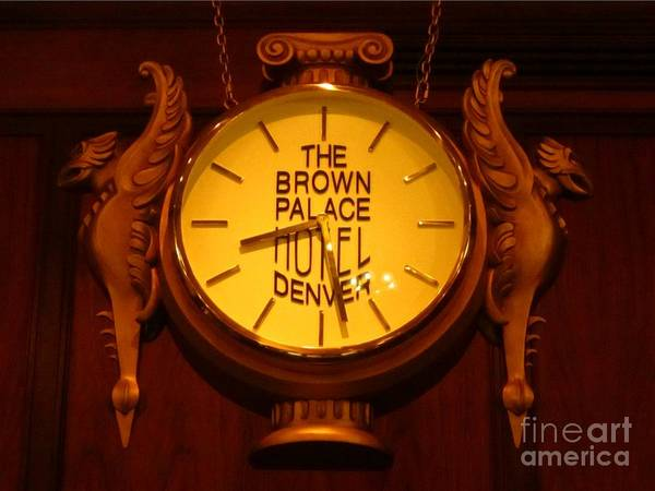 Antique Clock Art Poster featuring the photograph Antique Clock At The Bown Palace Hotel by John Malone