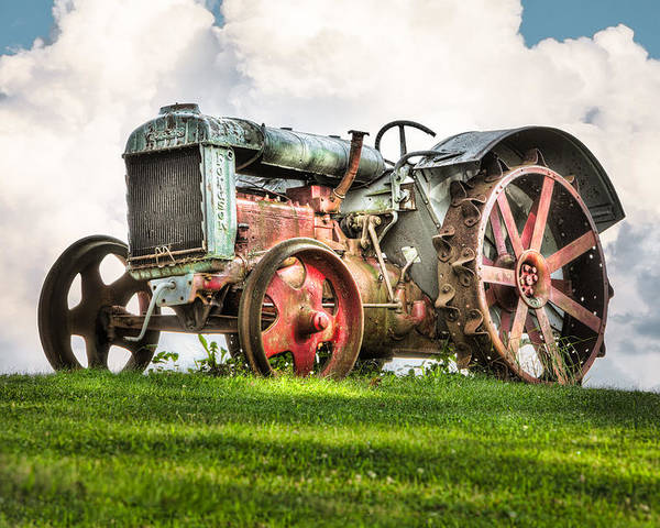 Tractors Poster featuring the photograph Antique Fordson Tractor - Americana by Gary Heller