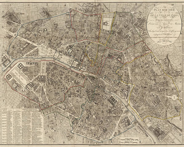 Paris Poster featuring the drawing Antique Map Of Paris France By Ledoyen - 1823 by Blue Monocle