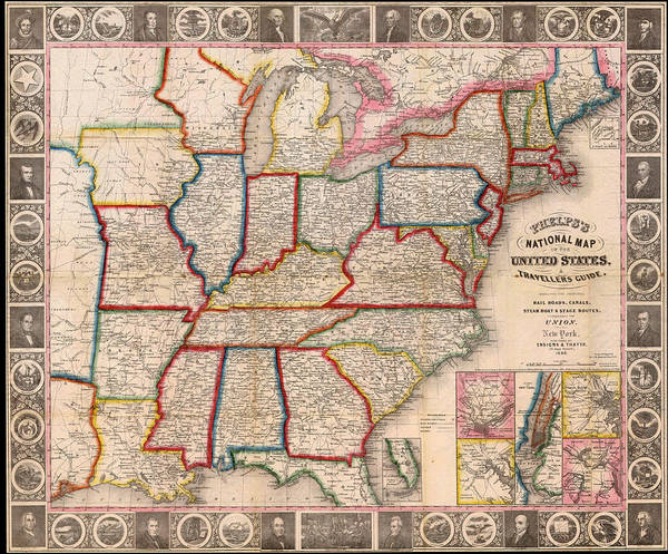 Map Poster featuring the drawing Antique Map Of The United States 1848 by Mountain Dreams