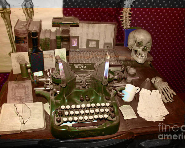 Typewriter Poster featuring the photograph Antique Oliver Typewriter On Old West Physician Desk by Janice Rae Pariza