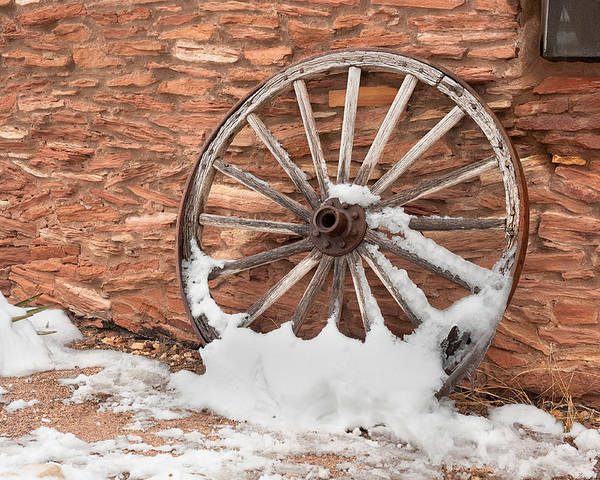 Wagon Wheel Poster featuring the photograph Antique Wagon Wheel by Joe Belanger
