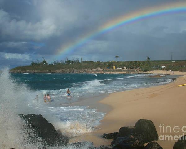 Aloha Poster featuring the photograph Anuenue - Aloha Mai E Hookipa Beach Maui Hawaii by Sharon Mau