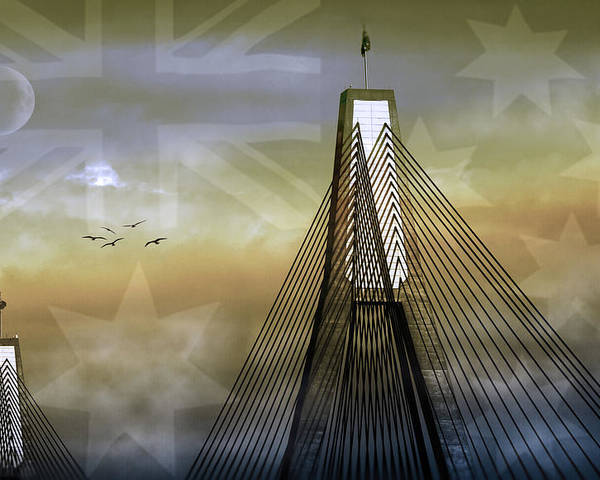 Landmarks Poster featuring the photograph Anzac Bridge by Holly Kempe