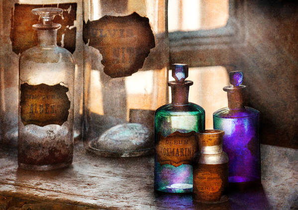 Doctor Poster featuring the photograph Apothecary - Oleum Rosmarini by Mike Savad