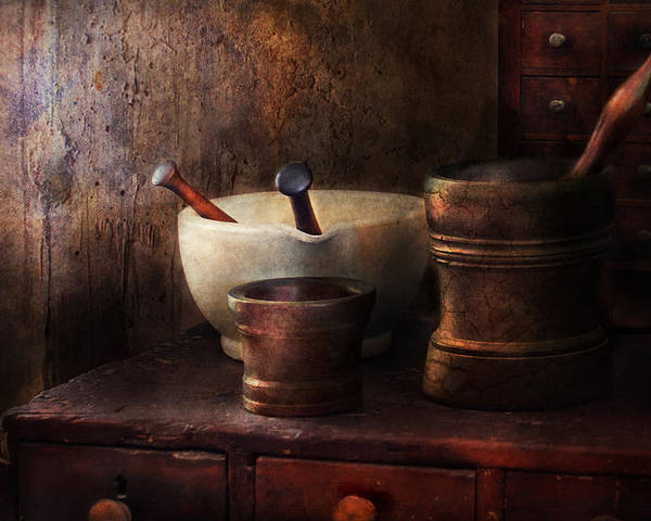 Pharmacy Poster featuring the photograph Apothecary - Pick A Pestle by Mike Savad