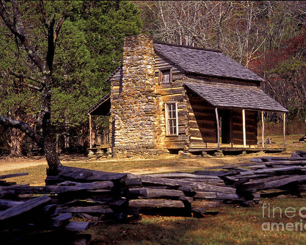 Log Cabin Poster featuring the photograph Appalachian Homestead by Paul W Faust - Impressions of Light