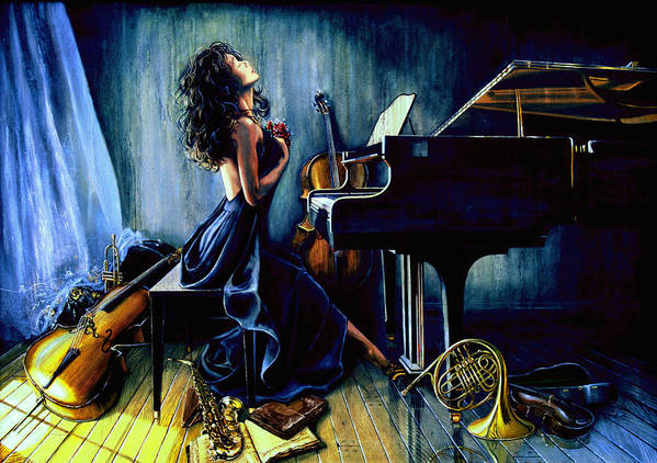 Musical Instrument Still Life Poster featuring the painting Appassionato by Hanne Lore Koehler