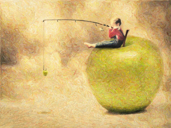 Apple Poster featuring the painting Apple Dream by Taylan Apukovska