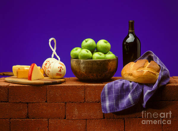 Craig Lovell Poster featuring the photograph Apples Bread And Cheese by Craig Lovell