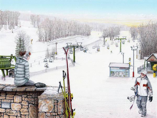Hidden Valley Poster featuring the painting Apres-ski At Hidden Valley by Albert Puskaric