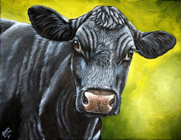 Cow Poster featuring the painting April by Laura Carey