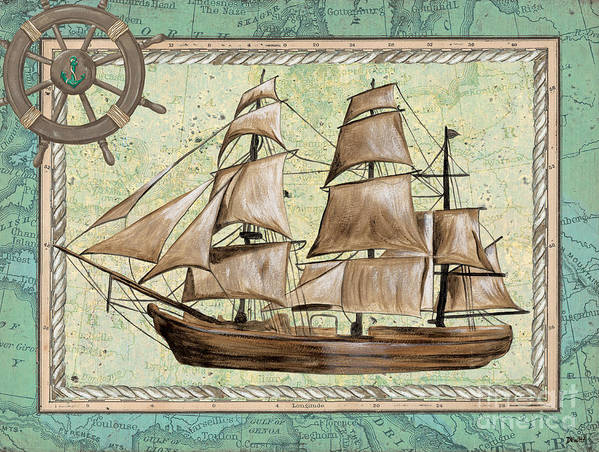 Aqua Poster featuring the painting Aqua Maritime 1 by Debbie DeWitt
