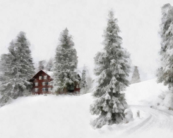 Aquarell Poster featuring the digital art Aquarell - Beautiful Winter Landscape With Trees And House by Matthias Hauser