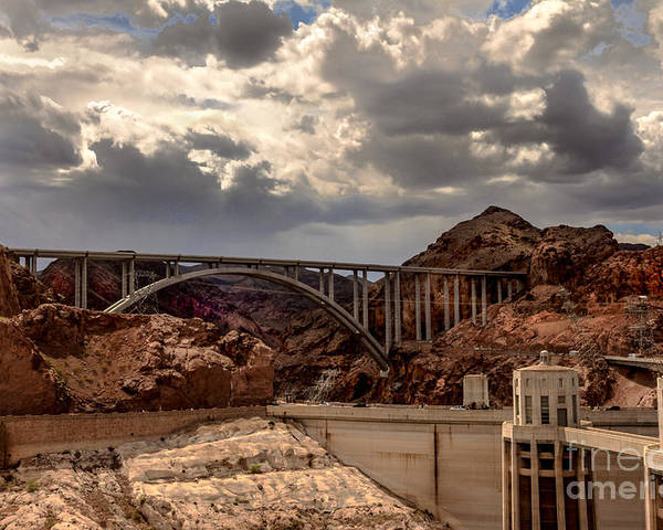 The Mike O'callaghan Poster featuring the photograph Arch Bridge And Hoover Dam by Robert Bales
