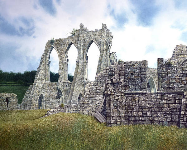 Landscape Poster featuring the painting Arches Of Bayham Abbey by Tom Wooldridge