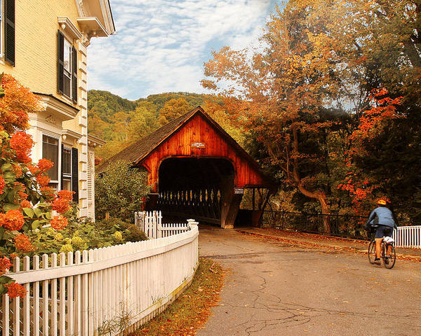Savad Poster featuring the photograph Architecture - Woodstock Vt - Entering Woodstock by Mike Savad