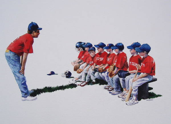 Baseball Players Poster featuring the painting Are We Ready Yet by Karol Wyckoff