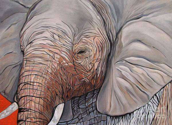 Elephant Bull Painting Poster featuring the painting Are You There by Aimee Vance