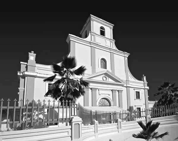 Poster featuring the photograph Arecibo Church And Plaza B W 2 by Ricardo J Ruiz de Porras