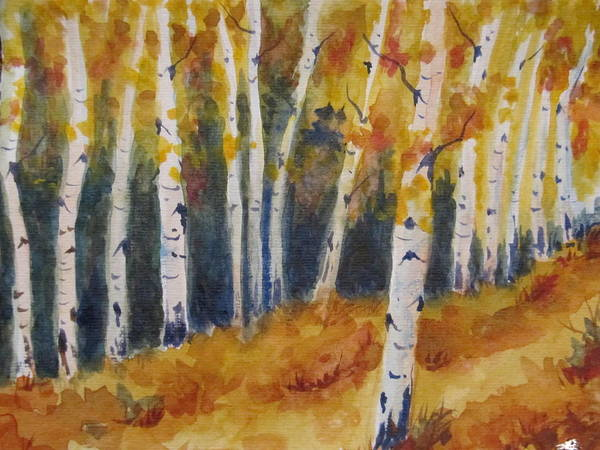 Aspen Poster featuring the painting Arizona Aspens by Diane Deam