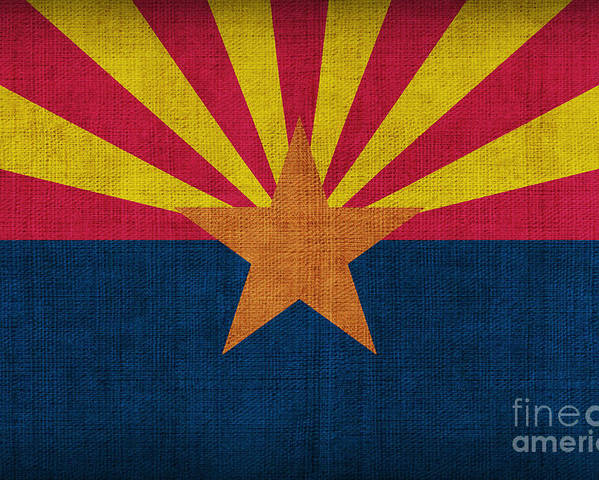Arizona Poster featuring the painting Arizona State Flag by Pixel Chimp