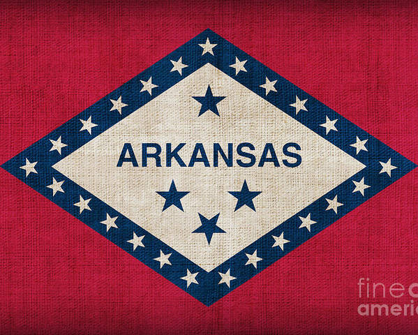 Arkansas Poster featuring the painting Arkansas State Flag by Pixel Chimp
