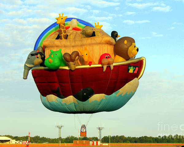 Hot Air Balloon Poster featuring the photograph Arky Hot Air Balloon by Kathy White