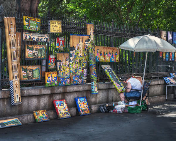 Jackson Square Poster featuring the photograph Artist At Work by Brenda Bryant
