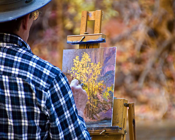 Zion National Park Poster featuring the photograph Artist At Work - Zion by Jon Berghoff