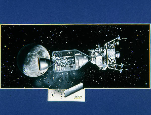 Apollo 13 Poster featuring the photograph Artwork Showing An Explosion On Board Apollo 13 by David A. Hardy/science Photo Library