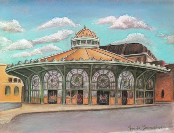 Carousel House Poster featuring the painting Asbury Park Carousel House by Melinda Saminski