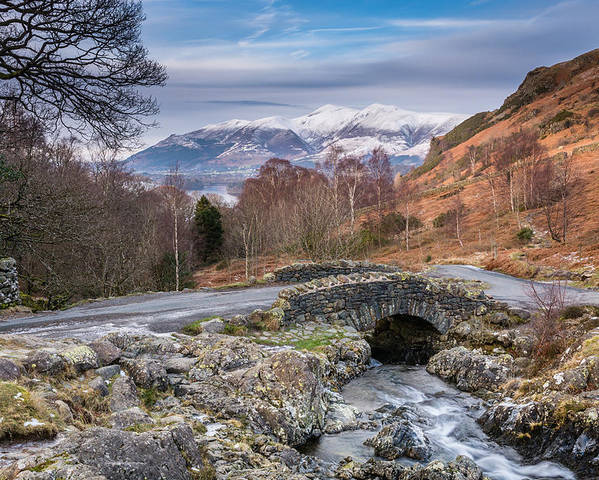 Ashness Poster featuring the photograph Ashness Bridge And Snow Capped Skiddaw by David Head