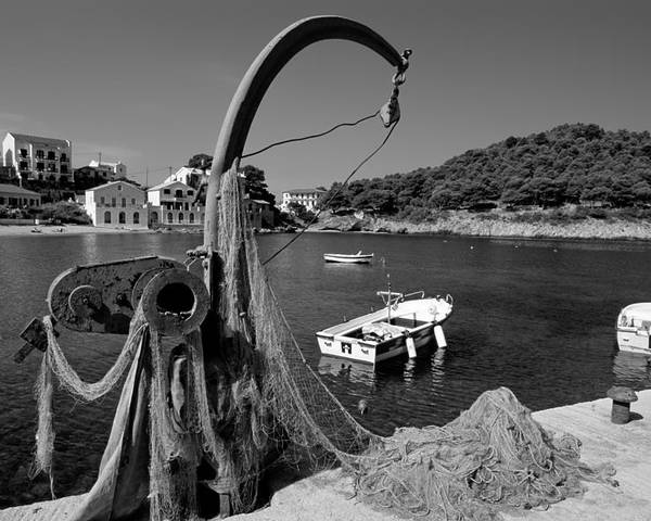 Kefalonia; Kefallonia; Kefallinia; Asos; Fishing; Nets; Ionio; Ionian; Island; Greece; Hellas; Greek; Hellenic; Village; Town; Boat; Boats; Capon; Sea; Holidays; Vacation; Travel; Trip; Voyage; Journey; Tourism; Touristic; Summer; Port; Harbor; House; Houses; Black And White; Black + White; B/w; B&w; B+w; Islands Poster featuring the photograph Asos Village by George Atsametakis