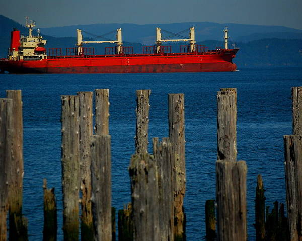 Astoria Poster featuring the photograph Astoria Tanker by Mamie Gunning