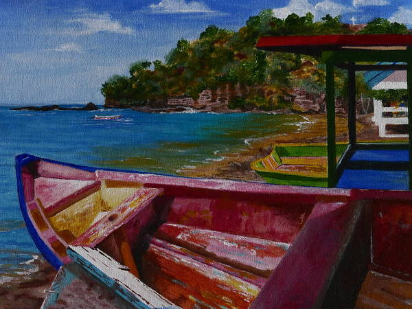 Blue Caribbean Sea Shore Poster featuring the painting At Rest by Barbara Ebeling