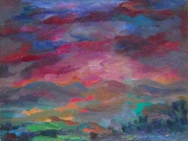 In The Evening Poster featuring the painting At Sunset by Milla Nuzzoli