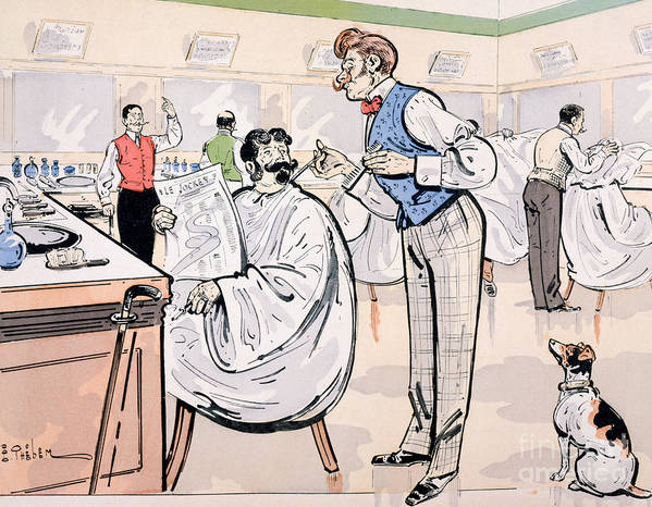 Thelem Poster featuring the painting At The Barber And Reading Le Jockey by Thelem