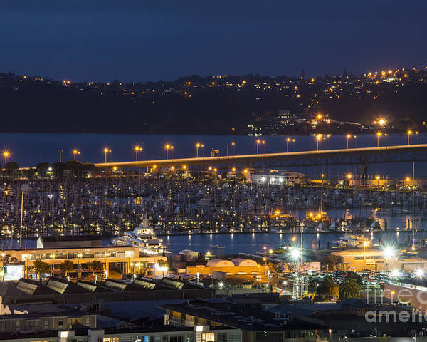 Auckland New Zealand Marina Marginal Boat Boats Bridge Bridges Water Night Light Lights After Dark City Cities Cityscape Cityscapes Building Buildings Structure Structures Poster featuring the photograph Auckland Marina by Bob Phillips