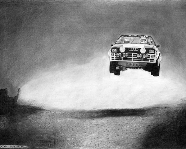 Audi Quattro Poster featuring the drawing Audi Quattro Flying by Gabor Vida