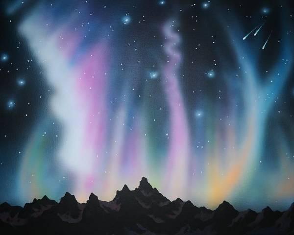Aurora Borealis Poster featuring the painting Aurora Borealis in the Rockies by Thomas Kolendra