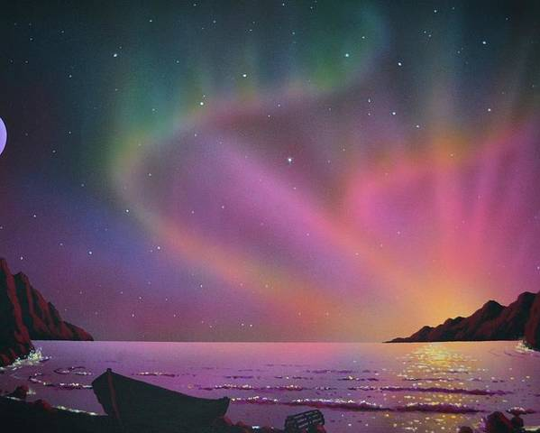 Aurora Borealis Poster featuring the painting Aurora Borealis with lobster cage by Thomas Kolendra
