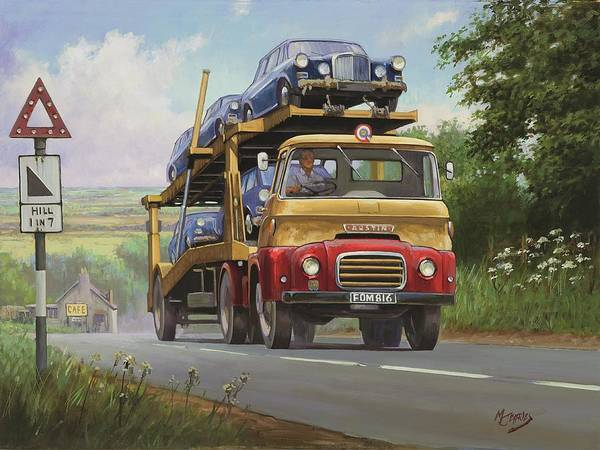 Commission A Painting Poster featuring the painting Austin Carrimore Transporter by Mike Jeffries