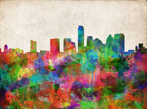 Austin Texas Poster featuring the painting Austin Texas Abstract Panorama 4 by Bekim Art