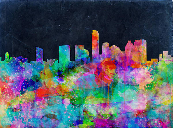 Austin Texas Poster featuring the painting Austin Watercolor Panorama by Bekim Art