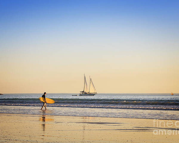 Ambience Poster featuring the photograph Australia Broome Cable Beach Surfer And Sailing Ship by Colin and Linda McKie
