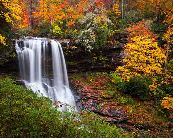 Waterfalls Poster featuring the photograph Autumn At Dry Falls - Highlands Nc Waterfalls by Dave Allen