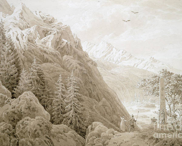 Landscape Poster featuring the painting Autumn by Caspar David Friedrich